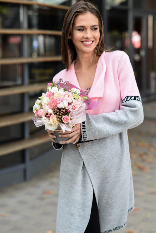 В'язаний кардиган з лампасами FashionWeek (рожевий, сірий)