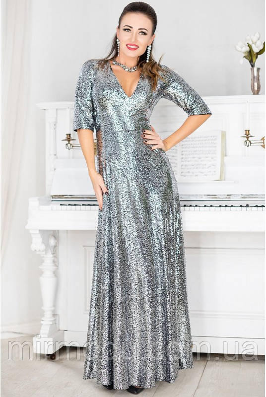 Вечернее платье Люкс серебро пайетки с 42 по 60  размер (лб)