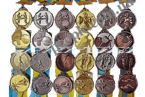 Медаль спортивная/для борьбы: 1, 2, 3 место, Ø 5 см, с украинской ленточкой