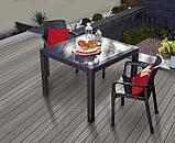 Стол садовый уличный Keter Melody Quartet Graphite ( графит ) из искусственного ротанга, фото 4
