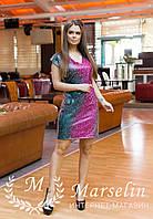 Новогоднее Коктейльное Платье Малиновый с Изумрудным