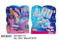 Кукла DEFA 28см 8243 русалка свет.хвост.лист.28*6*32,5 ш.к./12/(8243)