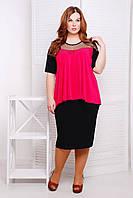 Очень красивый и удобный костюм, состоящий из классической черной юбки-карандаш большого размера 54-62 розовый, фото 1