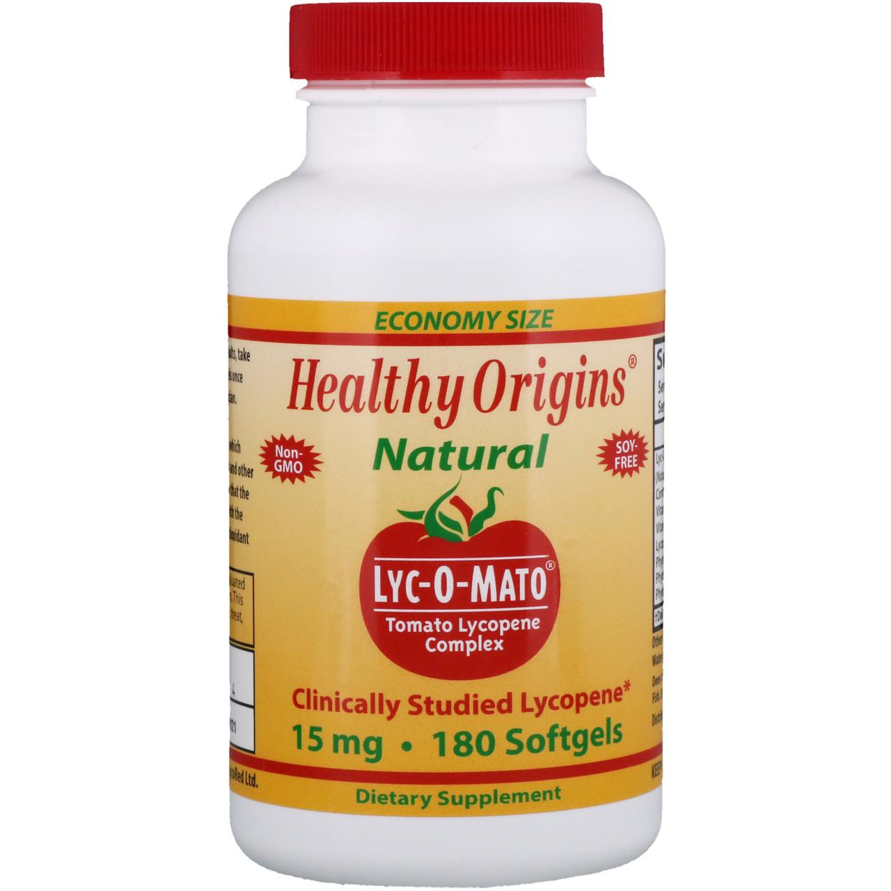 Ликопин (Lyc-O-Mato, Tomato Lycopene), Healthy Origins, Комплекс, 15 мг, 180 капсул