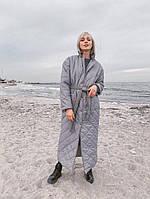 Женское длинное стеганое пальто на температуру -20