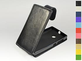 Откидной чехол из натуральной кожи для Microsoft Lumia 435 Dual Sim