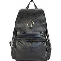 Рюкзак модный,молодежный, черный. Рюкзачок экокожа- кожзам. С эмблемой