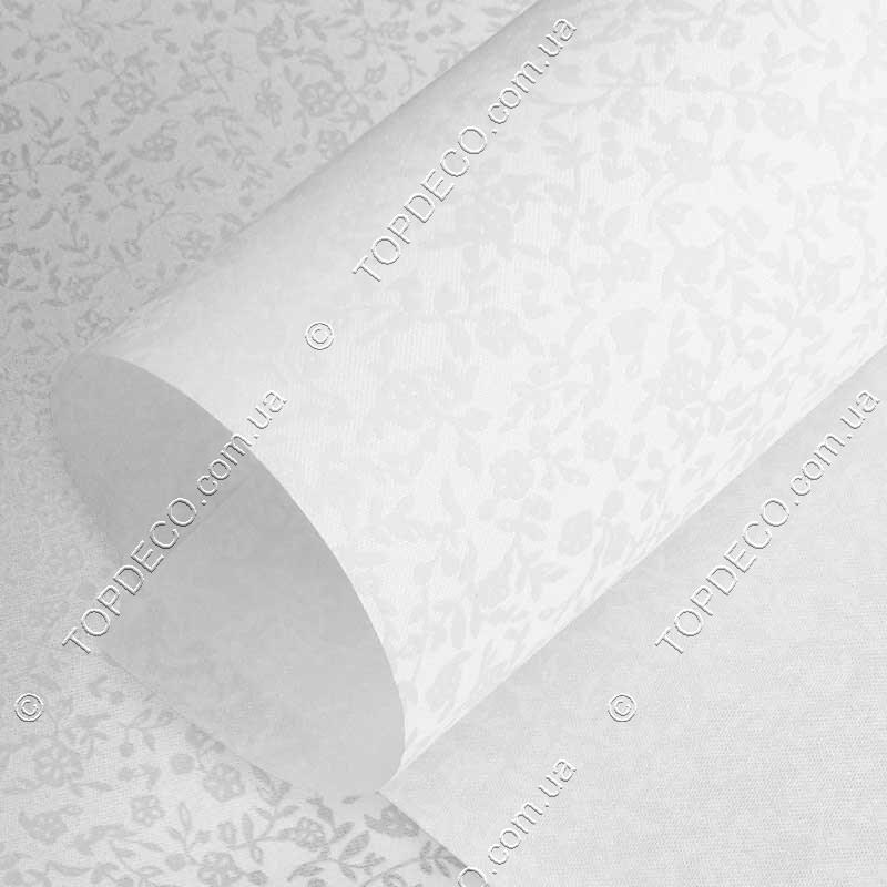 Рулонные шторы Шелк цветочки белый