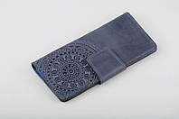 """Кожаный кошелек ручной работы, качественный синий клатч-кошелек с тисненым орнаментом """"Мандала"""""""