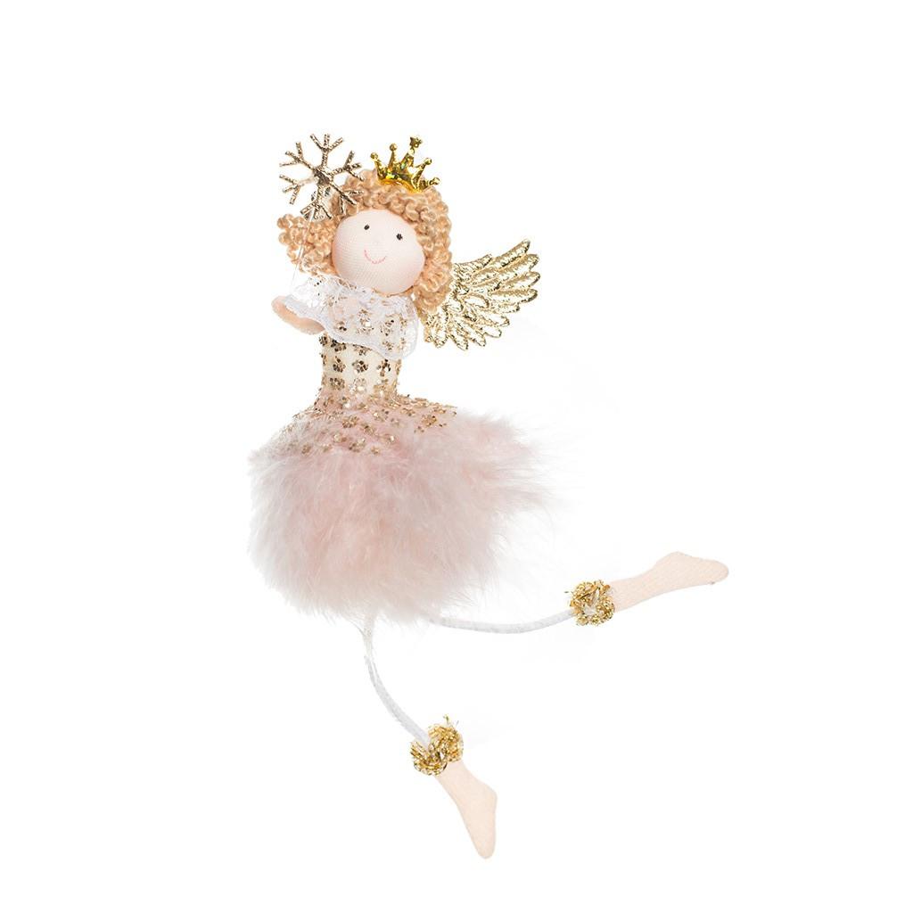 Ангел Принцесса с снежинкой розовая 17см 109413