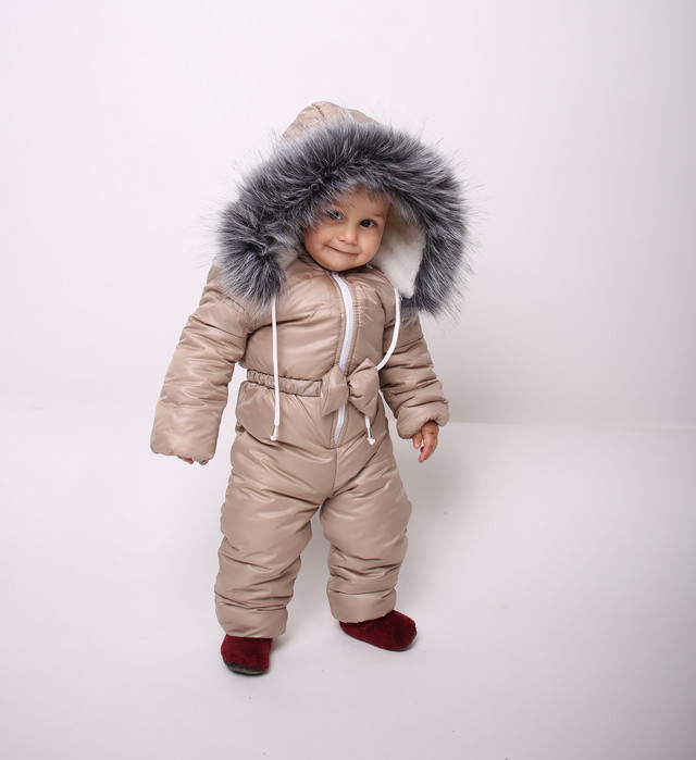 Комбинезоны детские Комбинезон зимний на девочку бежевый