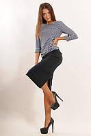 Зауженная юбка длиной ниже колена - миди, по бокам два кармашка, декоративная кокетка украшает верхнюю часть., фото 1