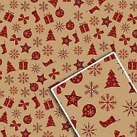 Бумага подарочная упаковочная крафтовая «Новогодняя» 528K, 70х100 см (10 листов/упаковка)