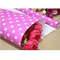 Бумага упаковочная подарочная крафтовая «Горох на розовом» в рулоне1013K, 70 см х 10 метров
