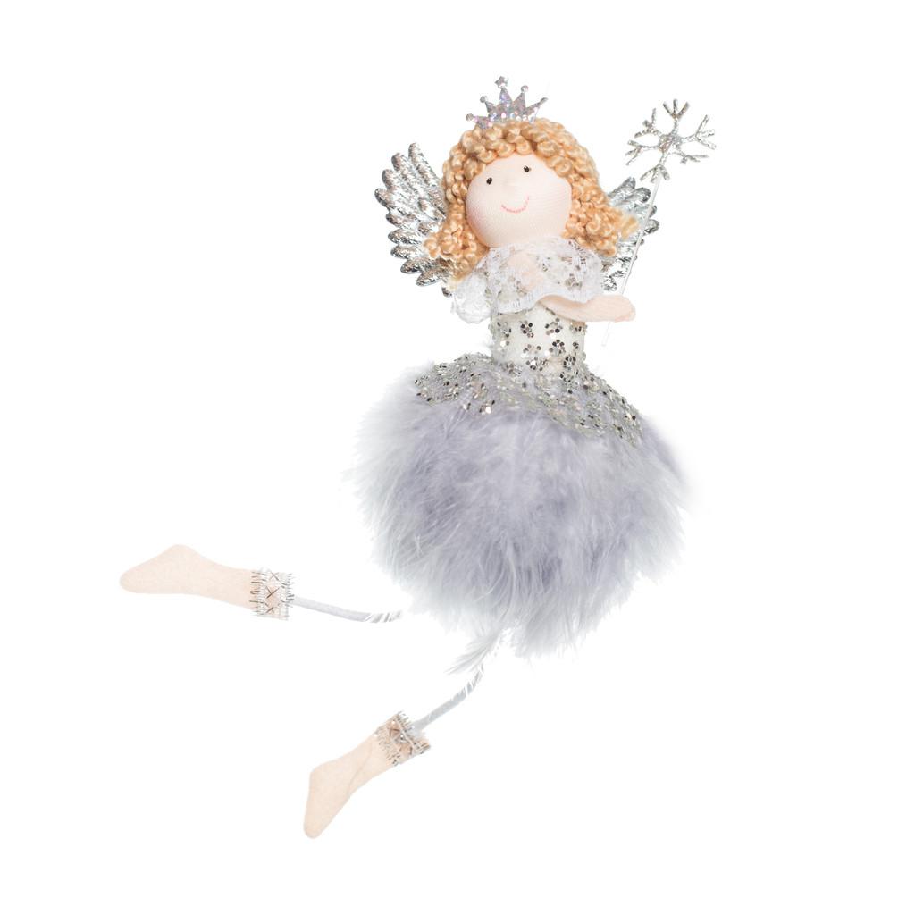 Ангел Принцесса с снежинкой серая 17см 109414