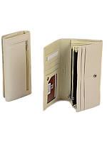 Стильный классический бежевый кошелёк-клатч женский на кнопке кожзам Sergio Torretti 18,5*9*3,5 (W501 beige)