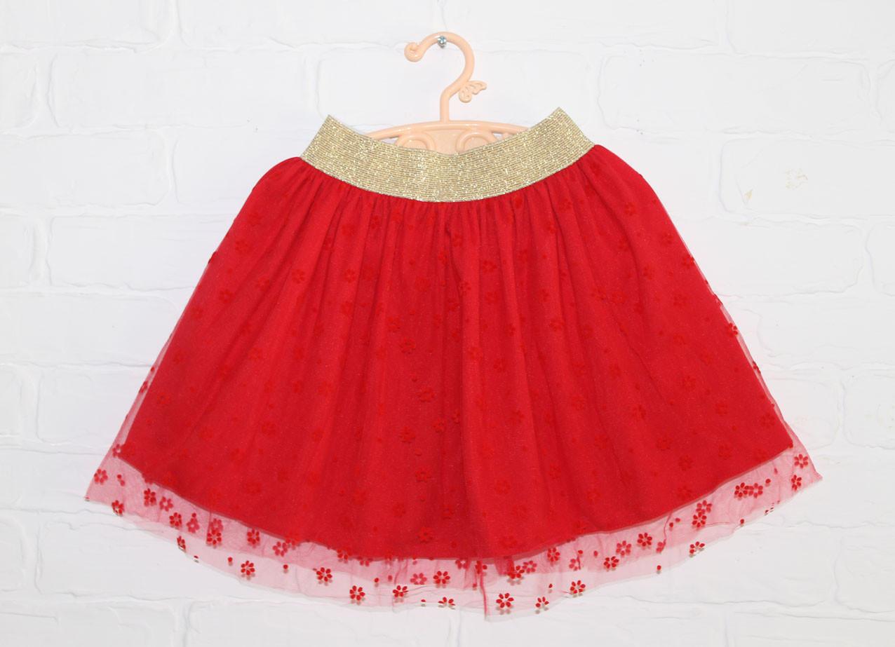 Детская нарядная юбка для девочки красная