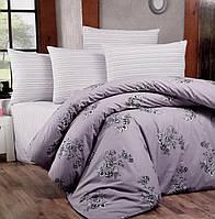 """Комплект постельного белья """"Victoria"""" Bouquet Сиреневый Ranfors (двуспальный евро)"""