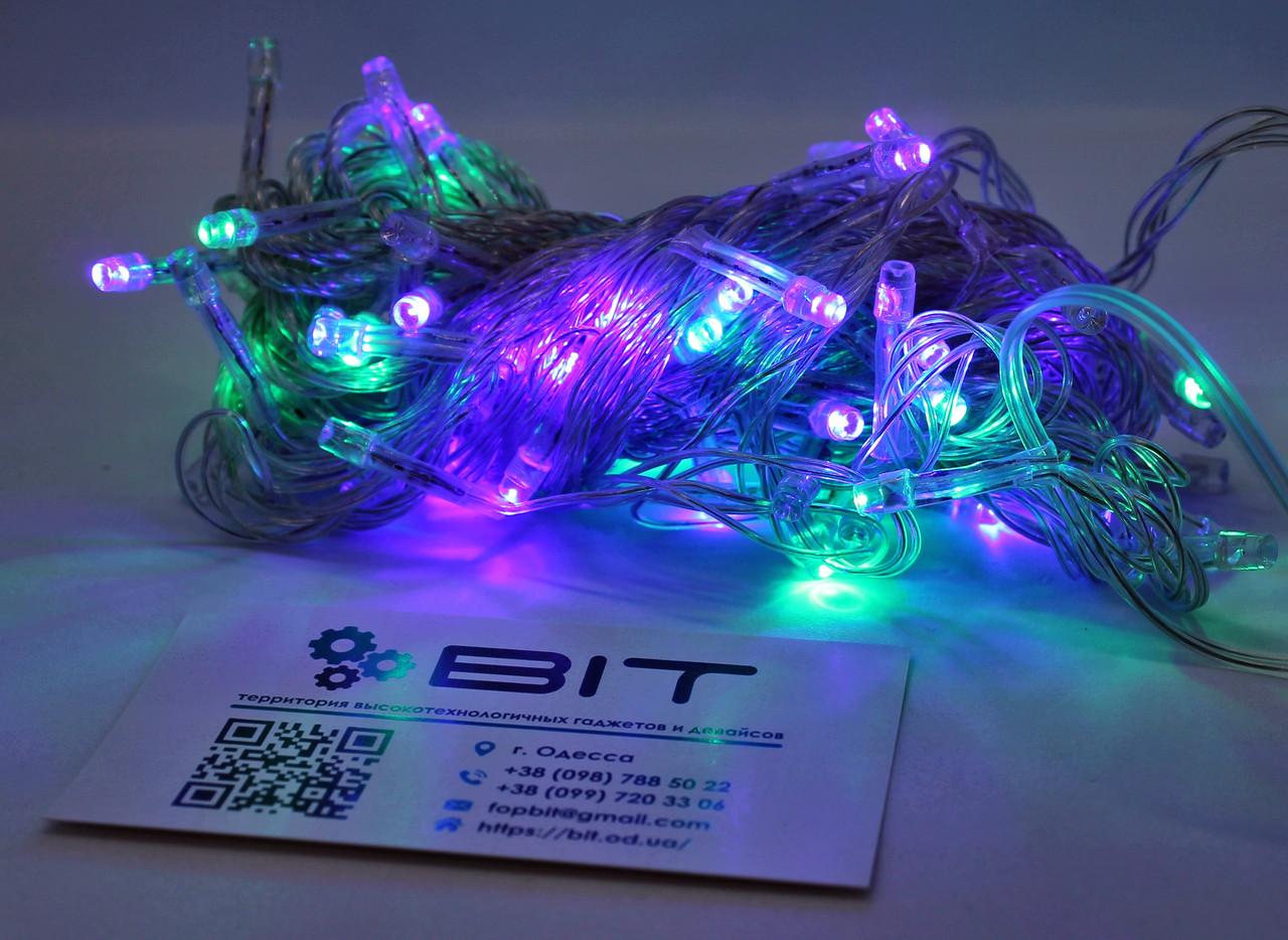 Светодиодная гирлянда 100 Led диодов 7м RGB Прозрачный провод (LED100M-1)