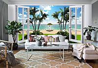 """3D фотообои """"Вид на пальмы и остров"""""""