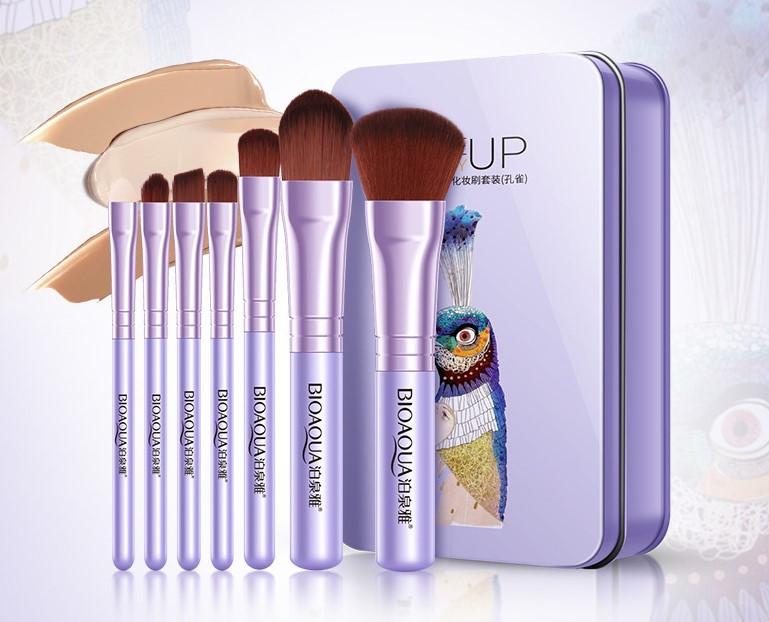 Набор кистей для макияжа 7шт BIOAQUA purpule