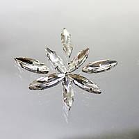 Cтразы в цапах.Иголочка 4х15мм.Цвет Crystal