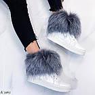 Женские зимние белые ботинки, из натуральной кожи, фото 3