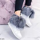 Женские зимние белые ботинки, из натуральной кожи, фото 4