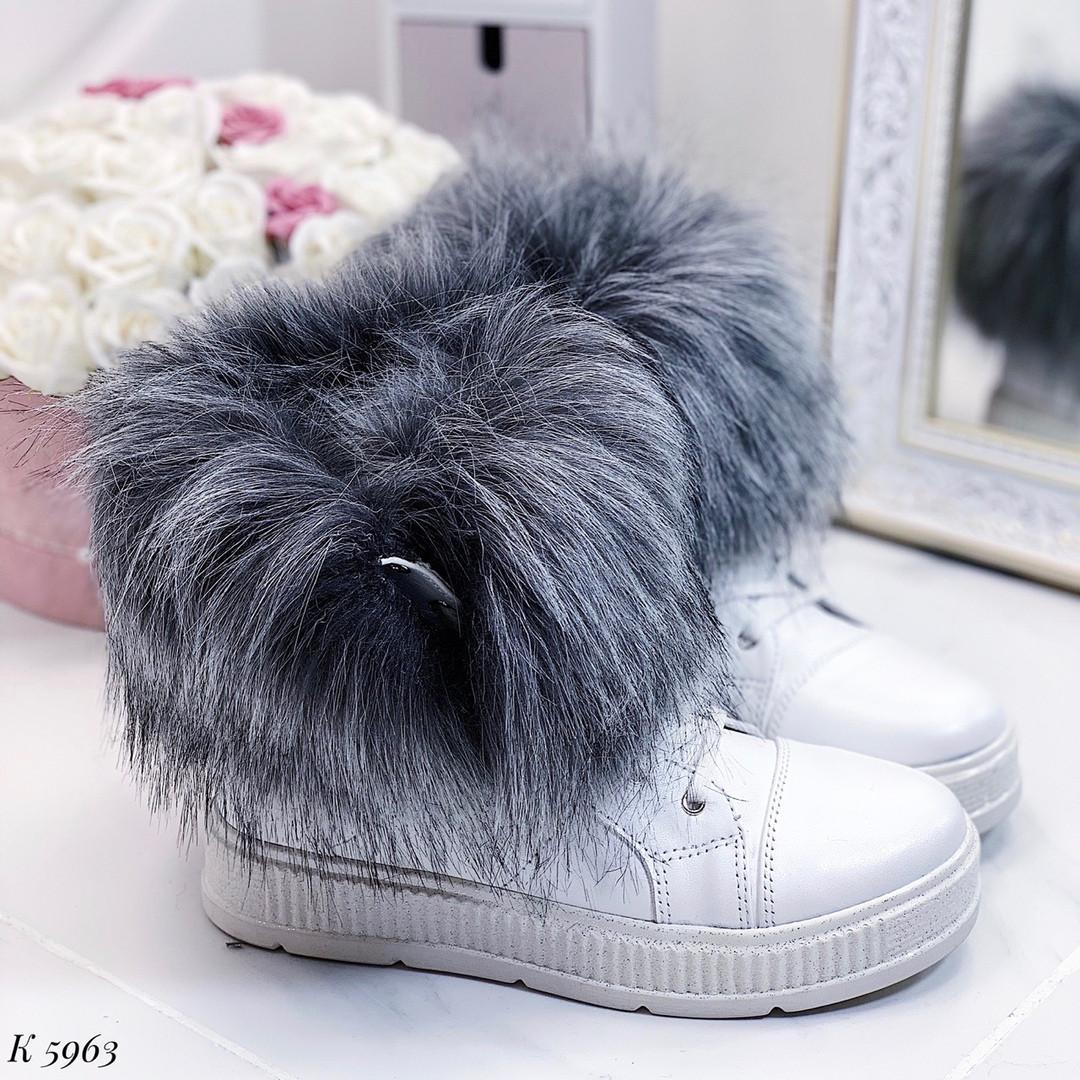 Женские зимние белые ботинки, из натуральной кожи