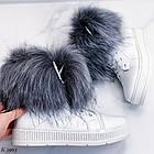 Женские зимние белые ботинки, из натуральной кожи, фото 8