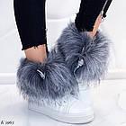 Женские зимние белые ботинки, из натуральной кожи, фото 7