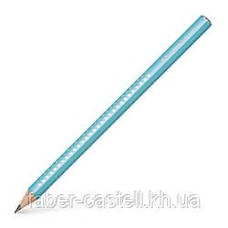 Карандаш чернографитный утолщенный Faber-Castell Jumbo Grip Sparkle 2001 корпус голубой, 111605