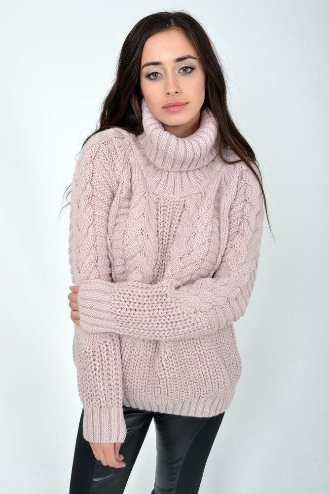 Теплый зимний свитер женский с горлом пудрового цвета размер S-M