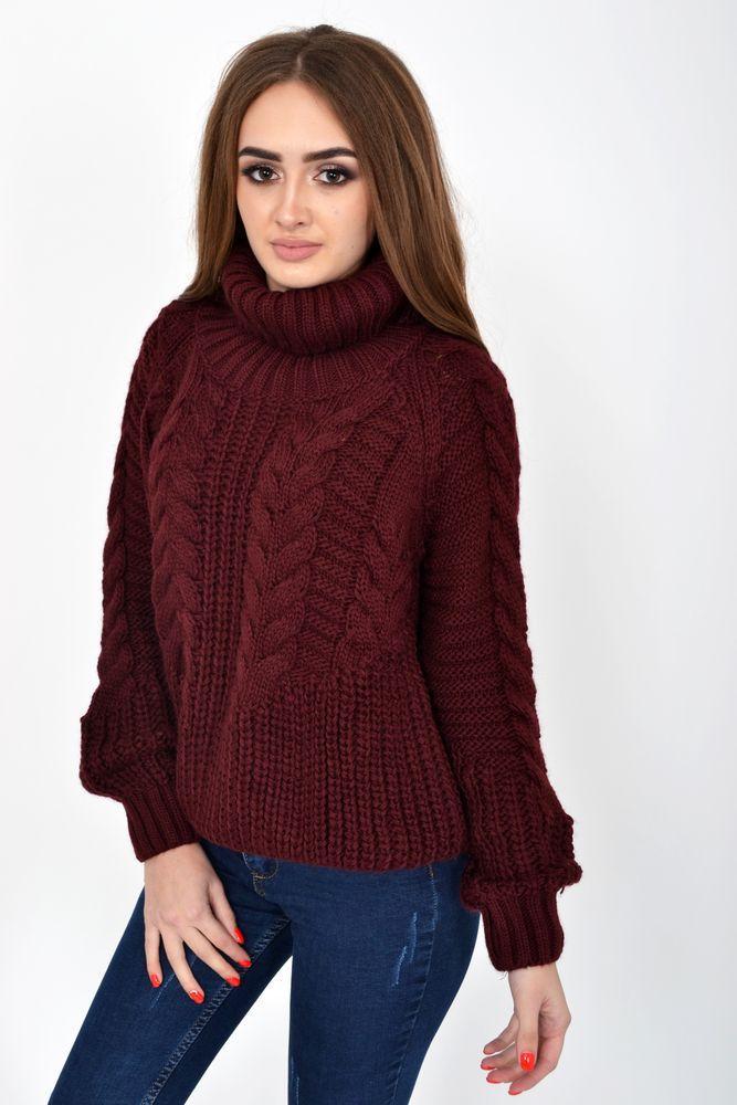 Теплый зимний свитер женский с горлом бордового цвета размер S-M