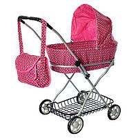 Коляска прогулочная для куклы, металлическая, высота до ручки - 71 см, MELOGO 9325, розовая с принтом