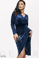 Изящное бархатное платье Большие размеры
