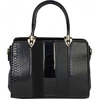 Сумка женская замш и лаковая. Черная сумочка Гвинея.