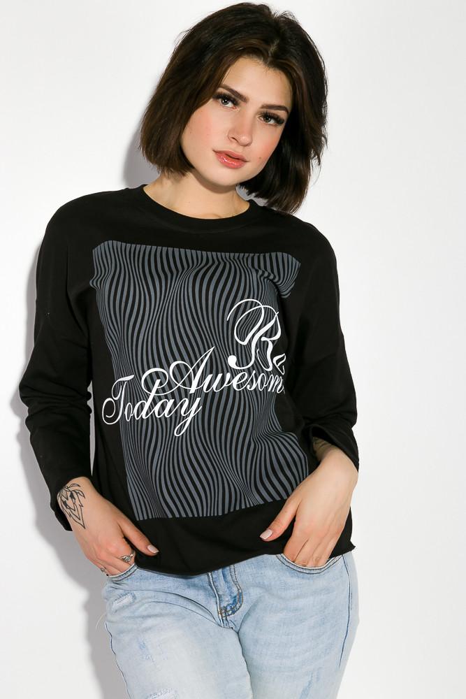 Свитшот женский с принтом цвет Черный размер M/L