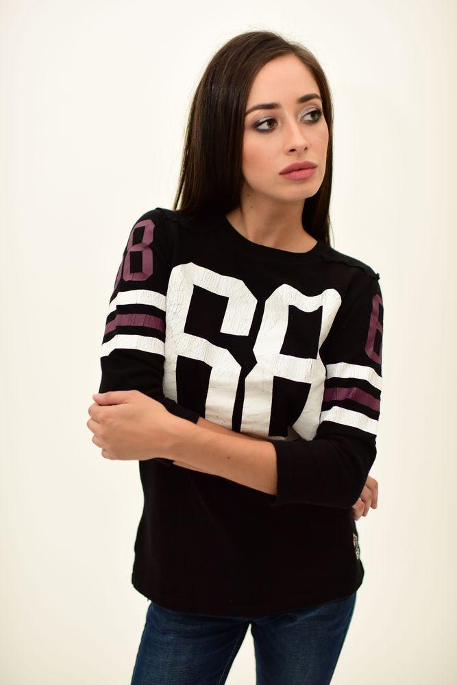 Черный женский джемпер с принтом цвет Черный размер XXS