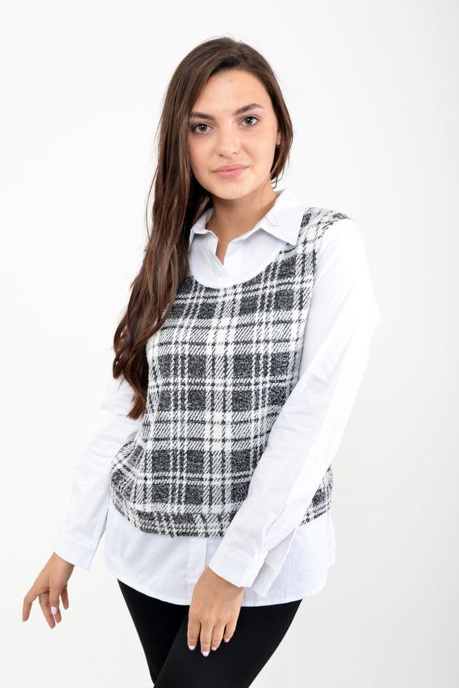 Рубашка-обманка цвет Серо-белый размер 40