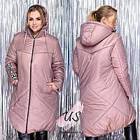Женская батальная теплая куртка на синтепоне с капюшоном. Уточняйте наличие!!!, фото 1