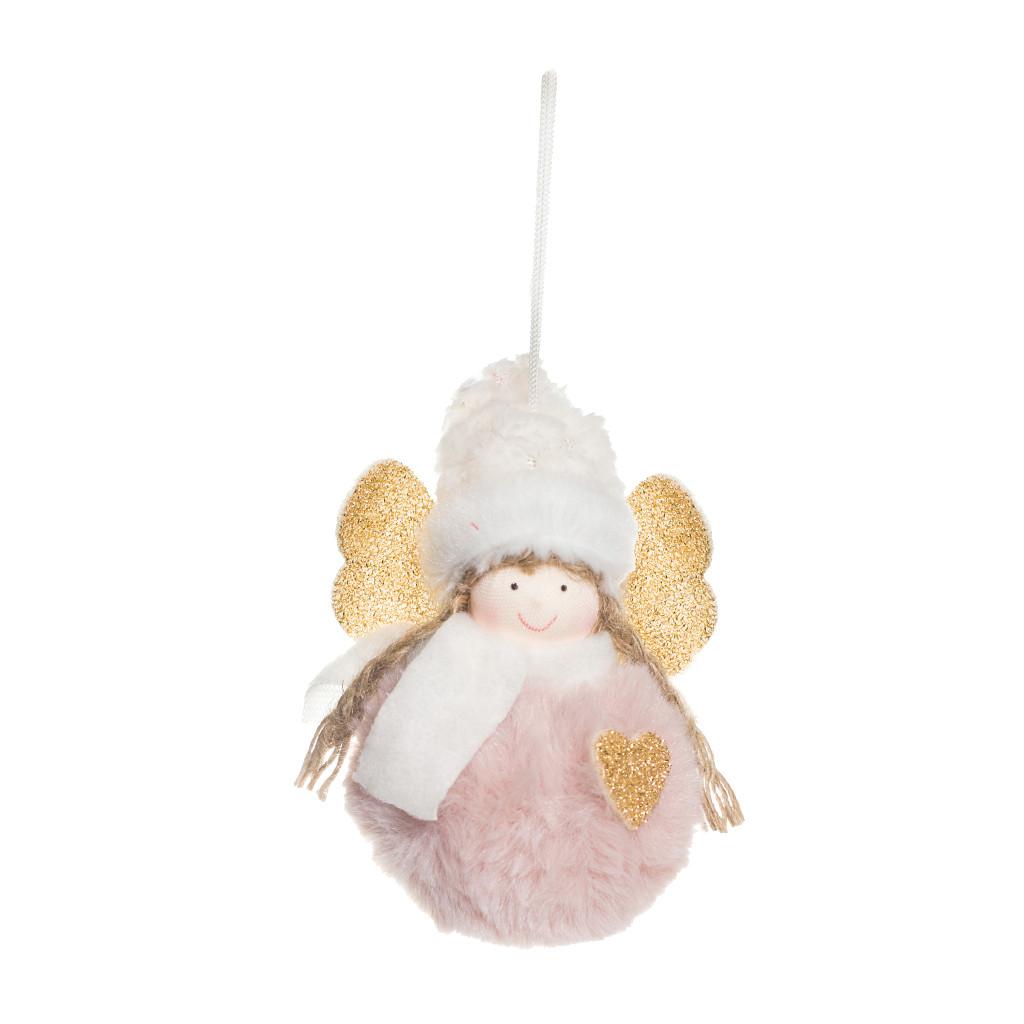 Ангел Фея с сердцем розовая 10см 109391