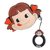 Чехол кейс для наушников Apple AirPods Alitek Milky Girl + держатель на палец (88686), фото 1