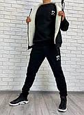 Мужской спортивный костюм тройка (брюки, кофта, жилетка) - черный