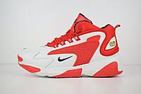 Кроссовки мужские Nike zoom 2k весенние яркие теплые найки, белые с красным, ТОП-реплика