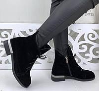 Vzuta! зимние кожаные женские полу ботинки на шнуровке со змейкой квадратный каблук