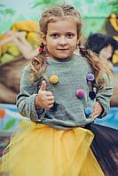 Свитер детский на девочку (серый)