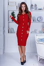 Женское приталенное платье с пуговицами на всю длину, фото 3