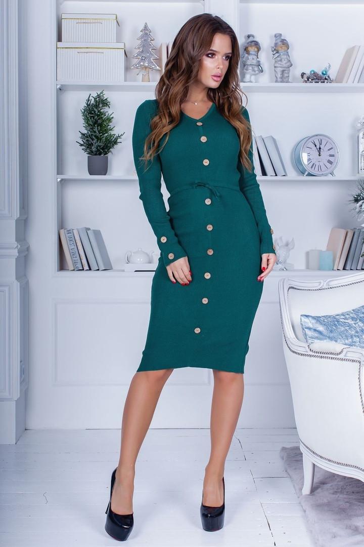 Женское приталенное платье с пуговицами на всю длину