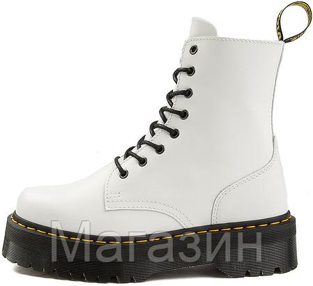 Женские зимние ботинки Dr. Martens Jadon White Доктор Мартинс Жадон белые С МЕХОМ, фото 2
